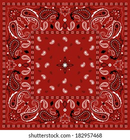 Red Paisley Bandana Pattern