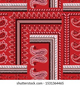 red paisley with bandanna pattern on red background