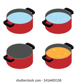 Red pan, cooking pot empty, water, boiling water, boiling soup. Cooking concept. Food preparation