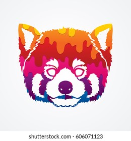 Red Panda Face head designed using melting colors graphic vector.