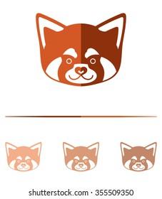 Red panda head - design template.