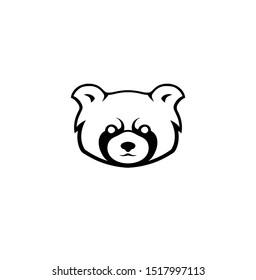 Red panda logo design vector head animal