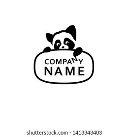 Red Panda, Racoon logo, Cartoon Racoon on a white background, Pet supplies logo,  Racoon on a white, Toys logo