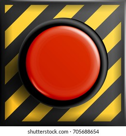 Red Panic Button Sign Vector. Red Alarm Shiny Panic Button. SOS Emergency Alarm. Safety Concept. Danger Push.  Illustration