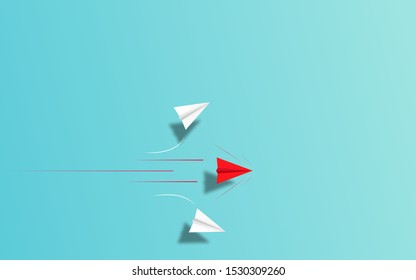 Red Paper airplane  accelerate to chasing white airplane target  illustration in paper art craft style design. paper airplane unique creative business competition idea concept.  vector illustration