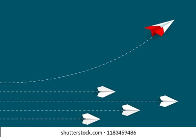 Red paper airplane changing direction from white. new idea. different business concept. courage to risk. leadership. startup. Vector illustrations
