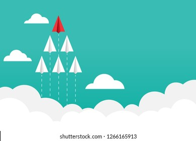 Red paper airplane flying to the front. Business concepts about executive leaders. Copy space for text input. Vector illustrations in flat design.