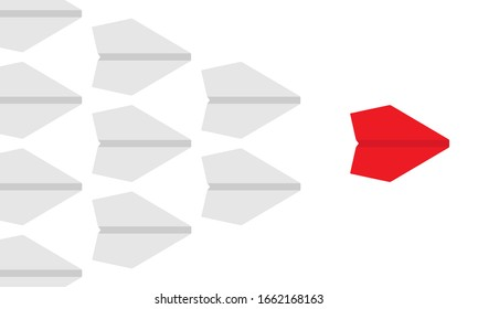 Red paper airplane leading a squad of white planes business concept. Leadership and management. CEO and entrepreneurship symbol or sign - Simple flat vector illustration.