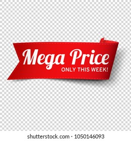 Red, paper banner for mega price. Vector illustration