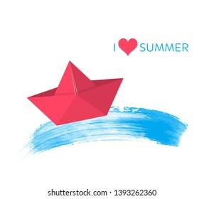 Red paper boat summer design card vector illustration