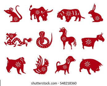 Red paper cut all of Chinese zodiacs sign vector set design