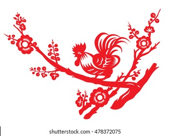 Red paper cut a chicken rooster crows on tree vector art design