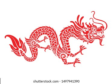 Red paper cut a China Dragon symbols vector art design  paper cut style on color Background.