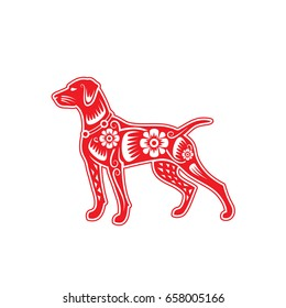 Red paper cut a dog - Chinese zodiac - vector illustration