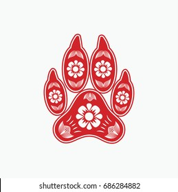 Red paper cut a dog foot print - Chinese zodiac - vector illustration