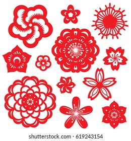 Paper cut flower images stock photos vectors shutterstock red paper cut flowers china vector set design mightylinksfo
