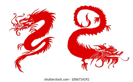 Red paper cut out of a Dragon china