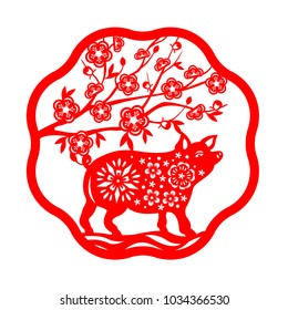 Red paper cut pig and peach blossom flower in circle border frame sign isolate on white background vector design