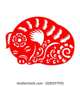 Red paper cut pig sleeping zodiac sign isolate on white background vector  design