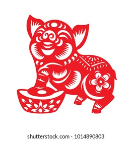 Red paper cut pig zodiac and money sign isolate on white background vector design