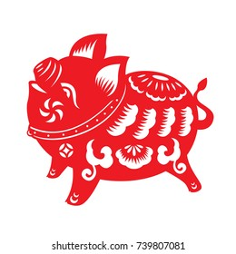 Red paper cut pig zodiac sign isolate on white background vector design