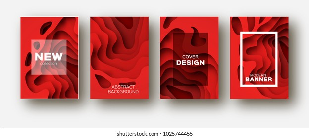 Red Paper Cut Wave Shapes. Layered curve Origami design for business presentations, flyers, posters. Set of 4 vertical banners. 3D abstract map carving. Text. Frame.