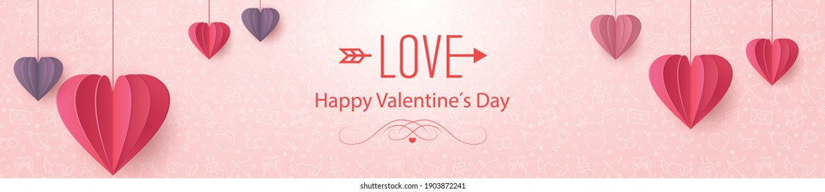The red paper folded love heart  on pink wide background. vector symbols of love, happy women, mother, Valentine's day, birthday card design.