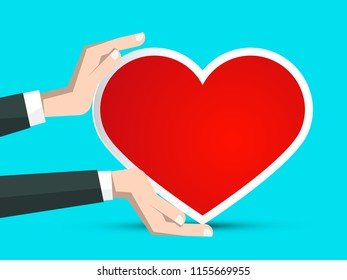 Red Paper Heart in Human Hands on Blue Background. Vector Retro Empty Greeting Card Illustration.