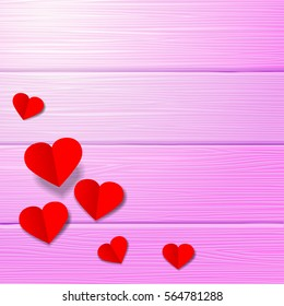 Red paper heart on a piece of wood Pink vector