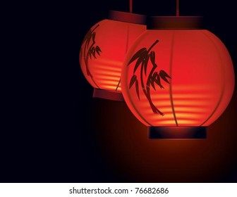 Red paper lanterns. The vector illustration of two Asian paper lanterns lighting in the night time.