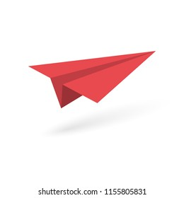 Red paper origami plane on white background. Vector illustration