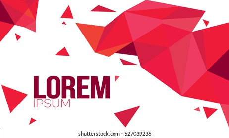 Red Paper Origami Polygonal Shape vector background. Abstract geometric illustration with place for text