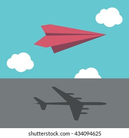 Red paper plane casting shadow of big real airliner. Business success, vision, ambition, motivation and dream concept. EPS 8 vector illustration, no transparency