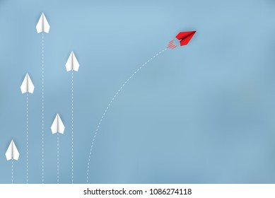Red paper plane changing direction from white. new ideas. different business concept. courage to risk. leadership. Vector illustrations