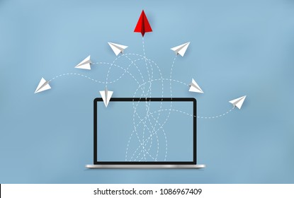 Red paper plane changing direction from white. launch outside notebook screen. Business Financial concept are competing for success and corporate goal. start up. Vector illustration