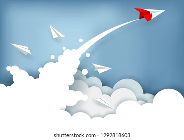 red paper plane charged up to the sky while flying above a cloud. business finance success. leadership. creative idea. startup. illustration cartoon vector