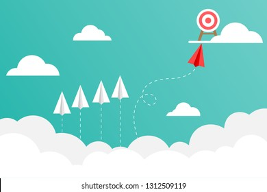 The red paper plane flies to the target on the cloud. Business concepts about good work vision. Creativity and difference make quick success. Vector illustrations in flat design.