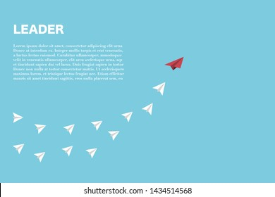 The red paper plane lead white paper planes, leader concept.