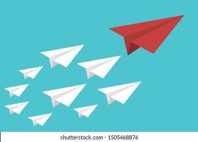 Red paper plane lead white ones on a sky background. Leadership, teamwork.
