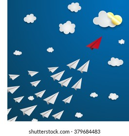 Red paper plane leadership concept.