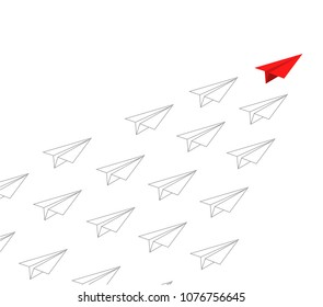 red paper plane leading white ones. leadership concept. illustration design graphic