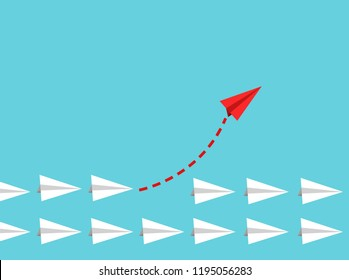 Red paper plane leading white ones, leadership concept.