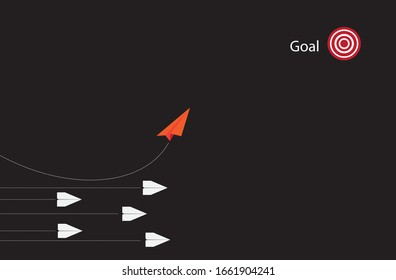 The red paper plane shows a new concept. By separating from the original method of doing Business goals