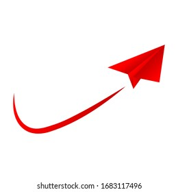 Red paper plane with swoosh line, vector illustration.