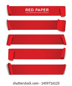 Red paper roll long size vector, collection isolated on white background, illustration