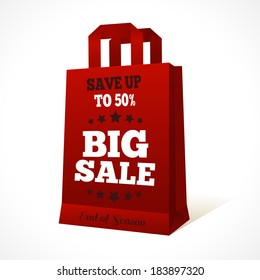 Red paper sale shopping bag with big sale text and stars design template vector illustration