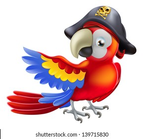 A red parrot cartoon wearing a pirates hat and eye patch and pointing with his or her wing