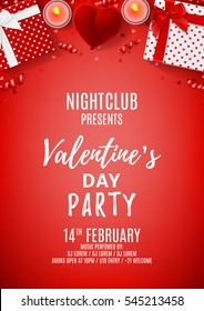 Red party flyer for Happy Valentine's Day. Top view on gift boxes and case for ring. Beautiful backdrop with candles, confetti and serpentine. Vector illustration. Invitation to nightclub.