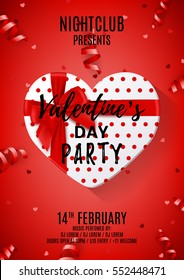 Red party flyer for Valentine's Day. Beautiful poster with gift box in the form of heart. Vector illustration with serpentine and confetti. Invitation to nightclub.