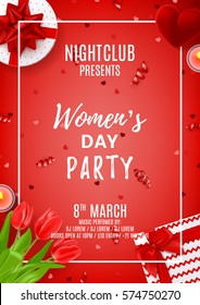 Red party poster for Women's Day. Top view on composition with red tulips, gift boxes, case for ring, candles and confetti. Vector illustration with serpentine. Invitation to nightclub.